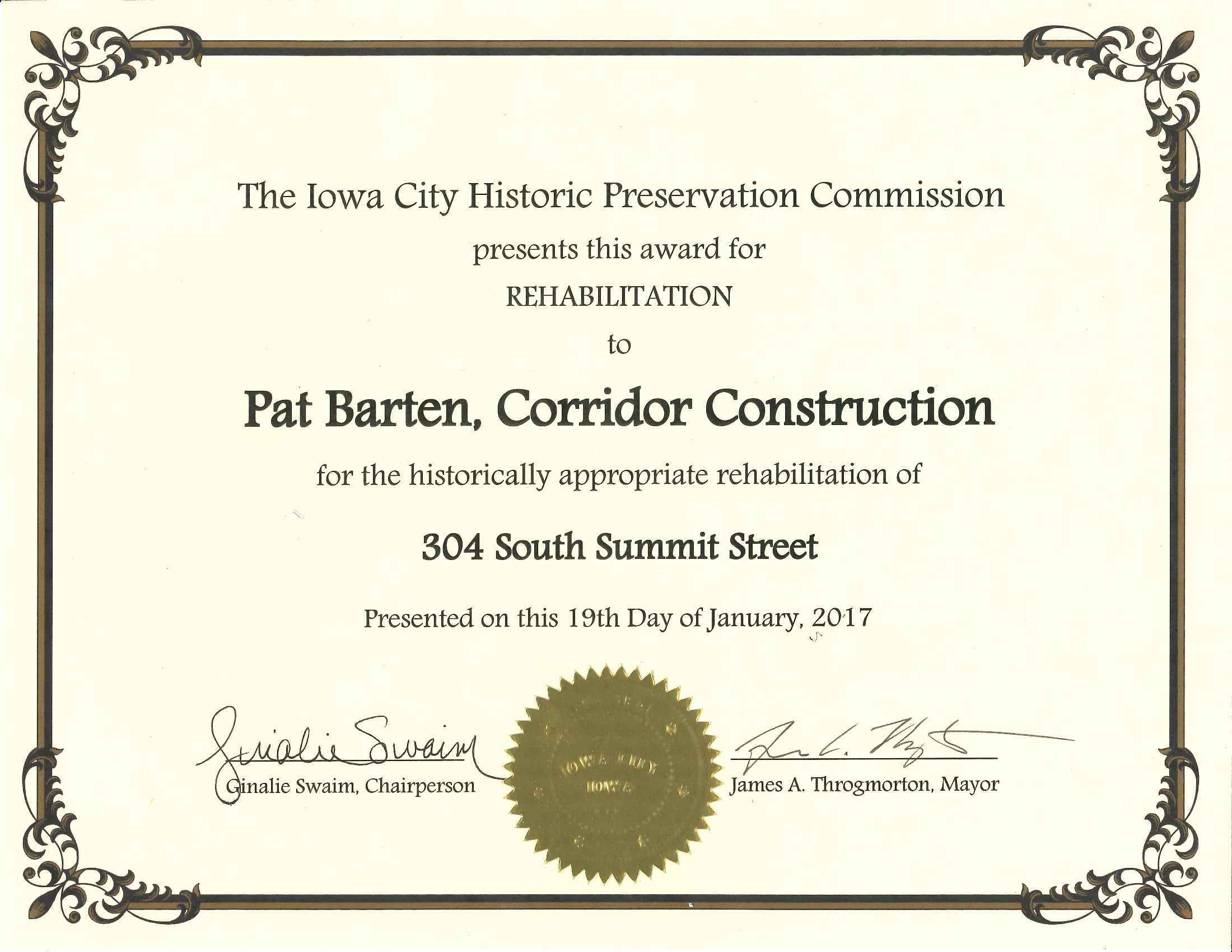 Iowa City Historic Preservation Commission Award